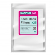 Face Mask Filter Fabric Inserts 25 pack - Medium